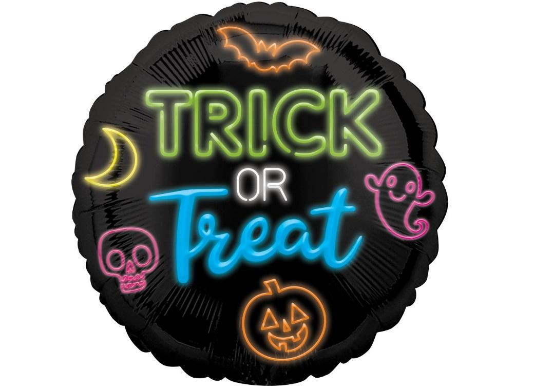 Neon Trick or Treat Foil Balloon