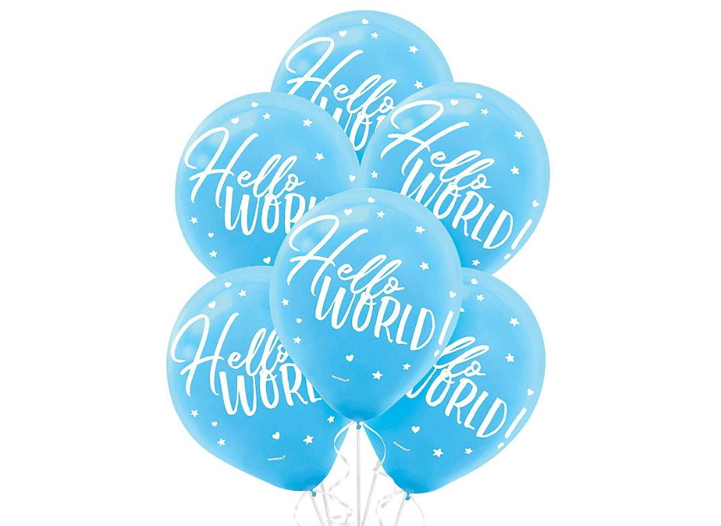 Oh Baby Boy Hello World Balloons 15pk