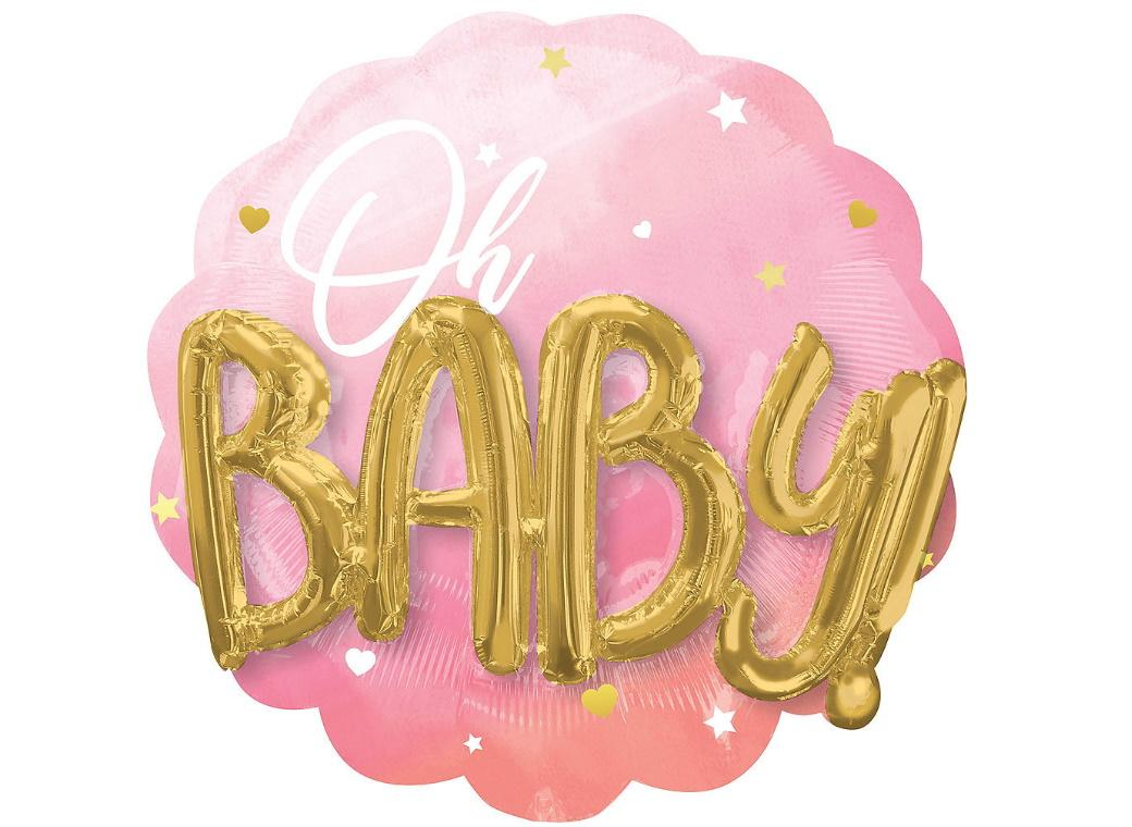 Oh Baby Girl 3D Foil Balloon