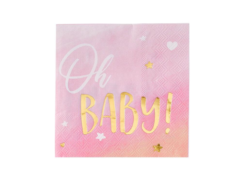 Oh Baby Girl Beverage Napkins 16pk