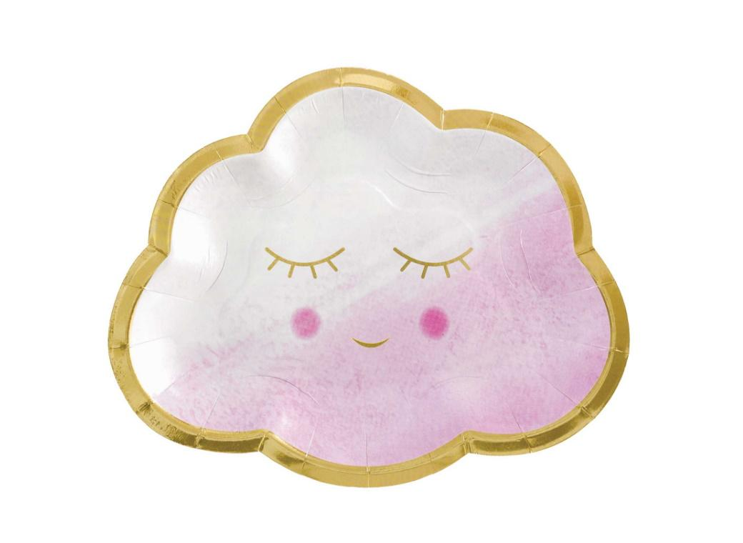 Oh Baby Girl Cloud Shaped Plates 8pk