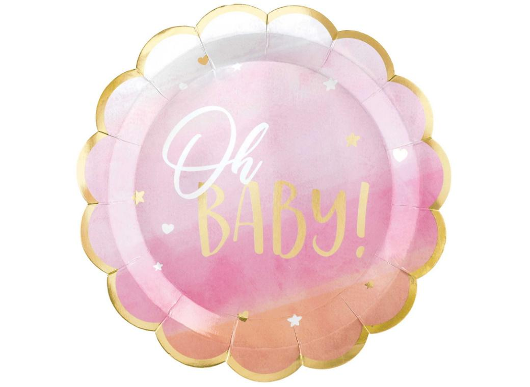 Oh Baby Girl Scalloped Plates 8pk