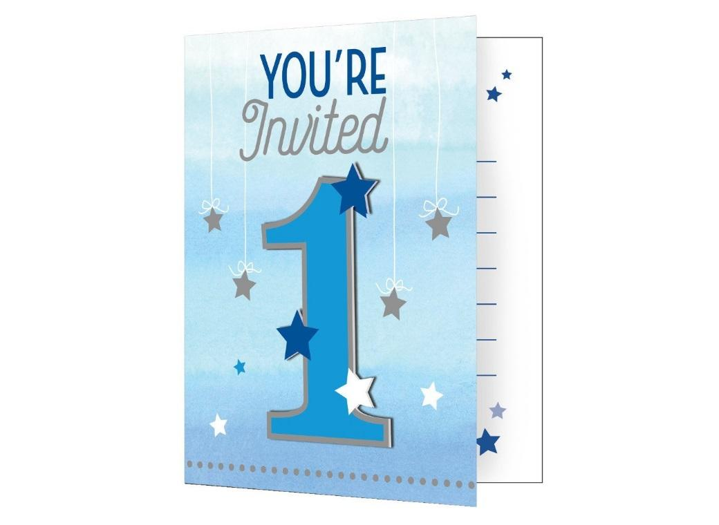 One Little Star Boy 1st Birthday Invitations 8pk