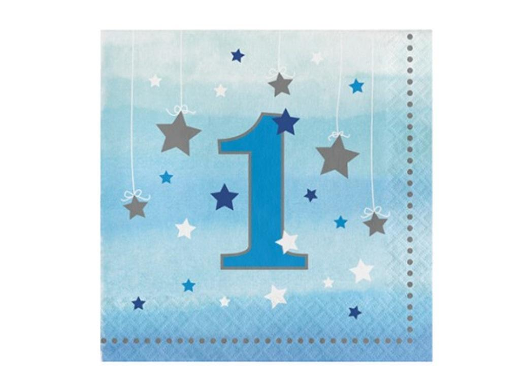 One Little Star Boy 1st Birthday Lunch Napkins 16pk