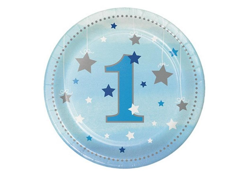 One Little Star Boy 1st Birthday Lunch Plates 8pk