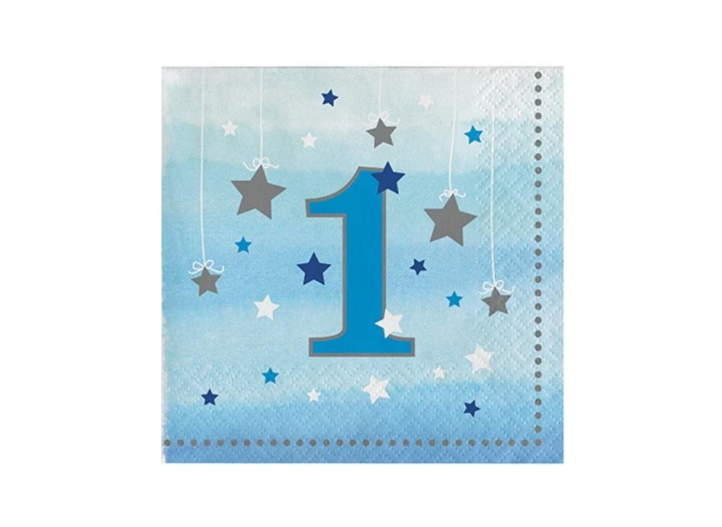 One Little Star Boy 1st Birthday Beverage Napkins 16pk