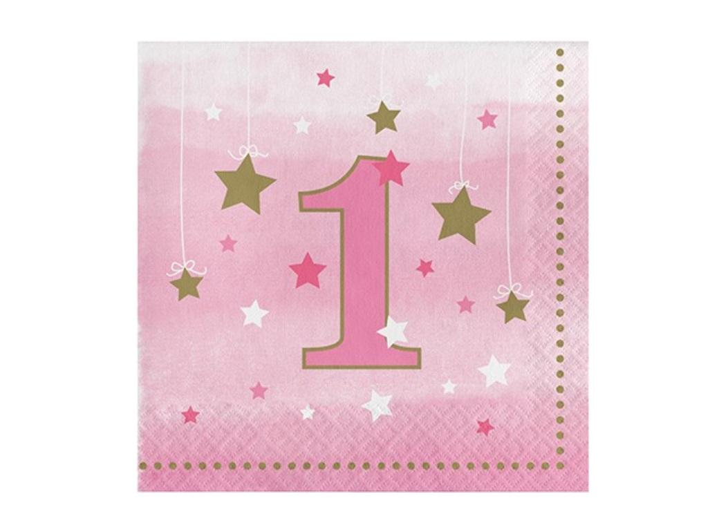 One Little Star Girl 1st Birthday Lunch Napkins 16pk