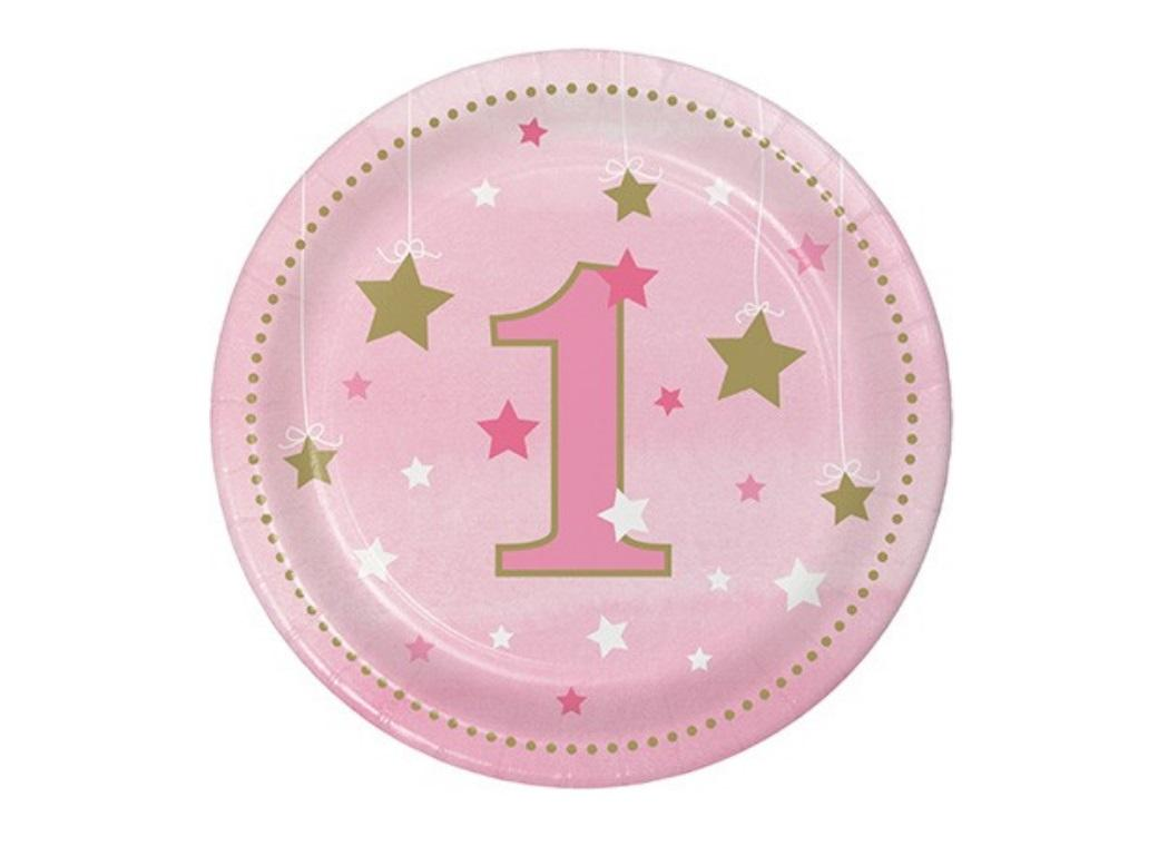 One Little Star Girl 1st Birthday Lunch Plates 8pk