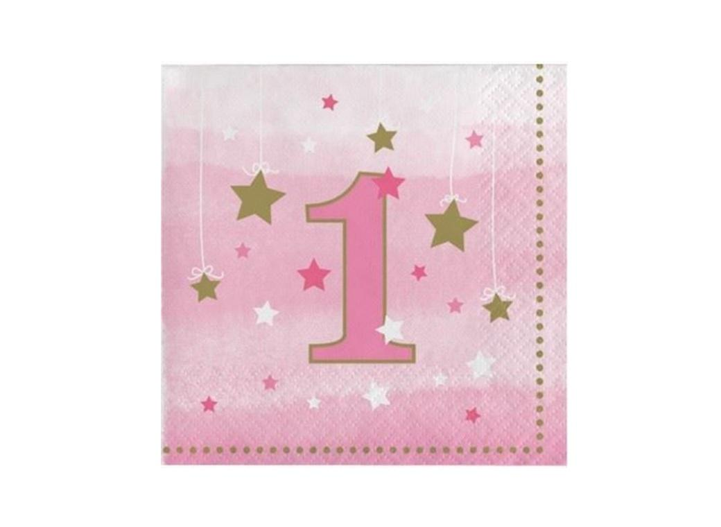 One Little Star Girl 1st Birthday Beverage Napkins