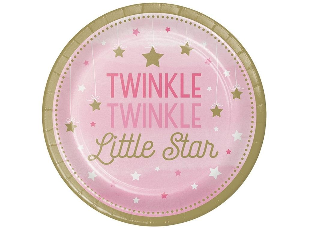 One Little Star Girl Dinner Plates 8pk