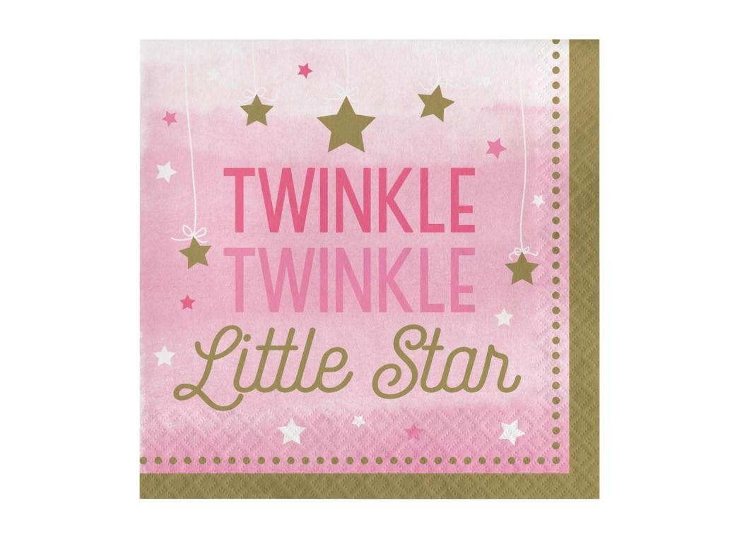 One Little Star Girl Lunch Napkins 16pk