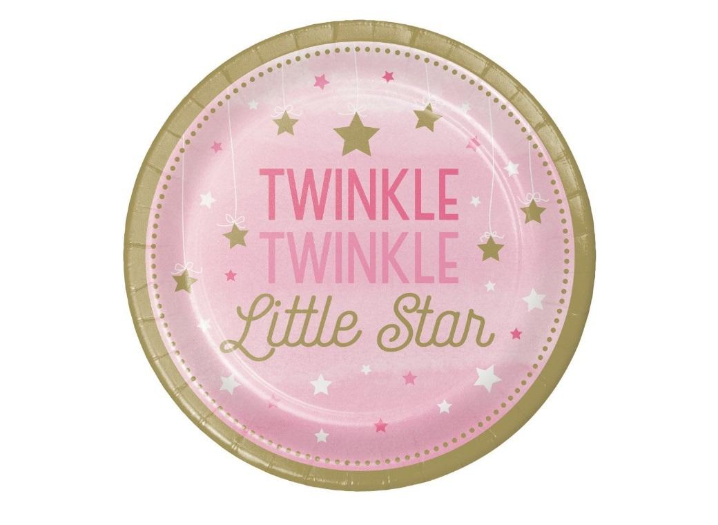 One Little Star Girl Lunch Plates 8pk
