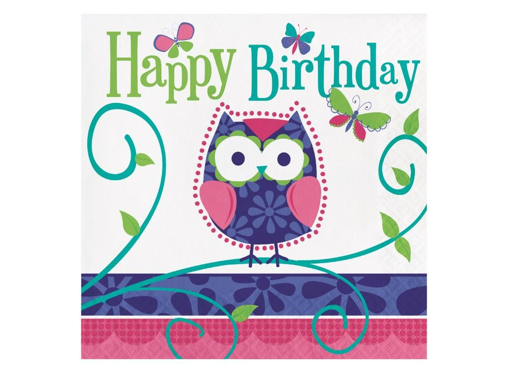 Owl Pal Lunch Napkins - Happy Birthday