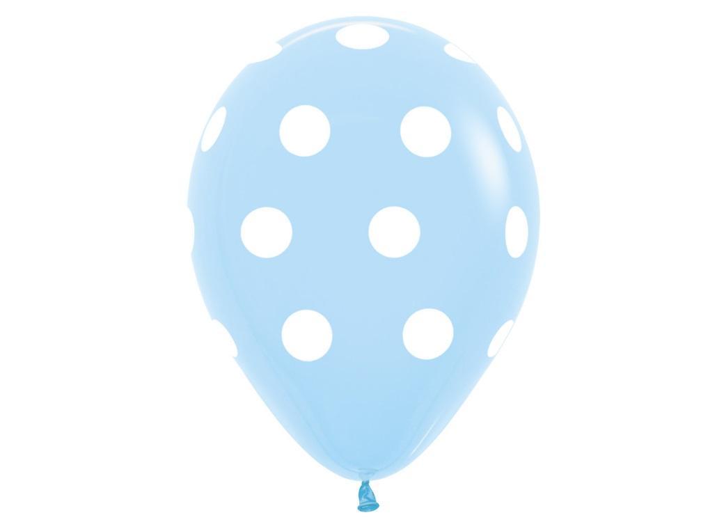 Pastel Blue Polka Dot Balloons 12pk