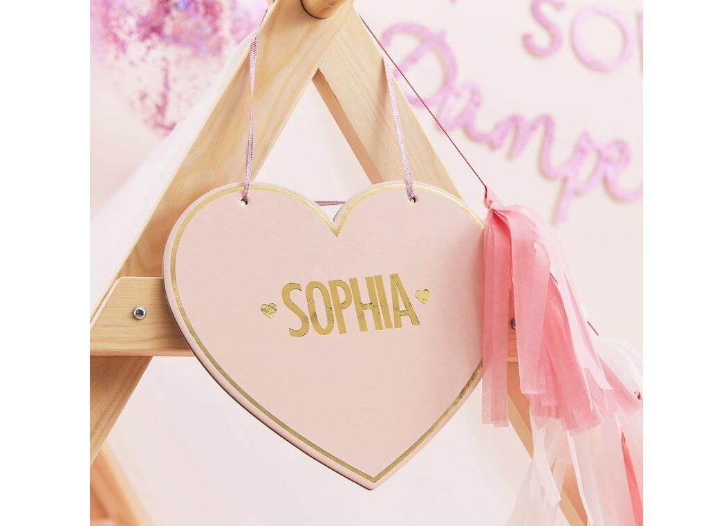 Pamper Party Customisable Heart Name Signs 4pk