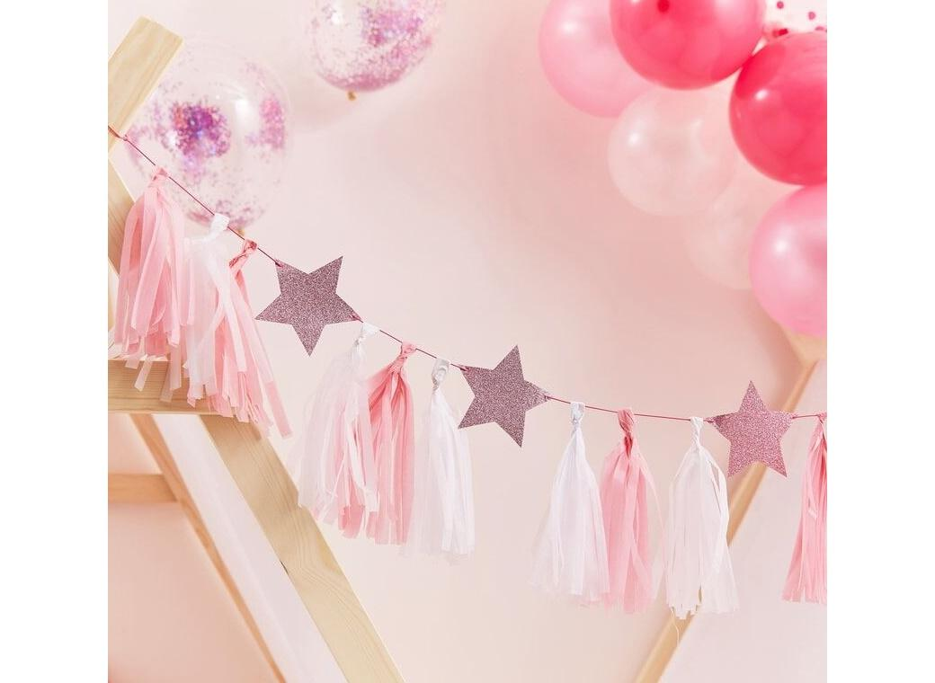 Pamper Party Pink Glitter Stars Tassel Garland