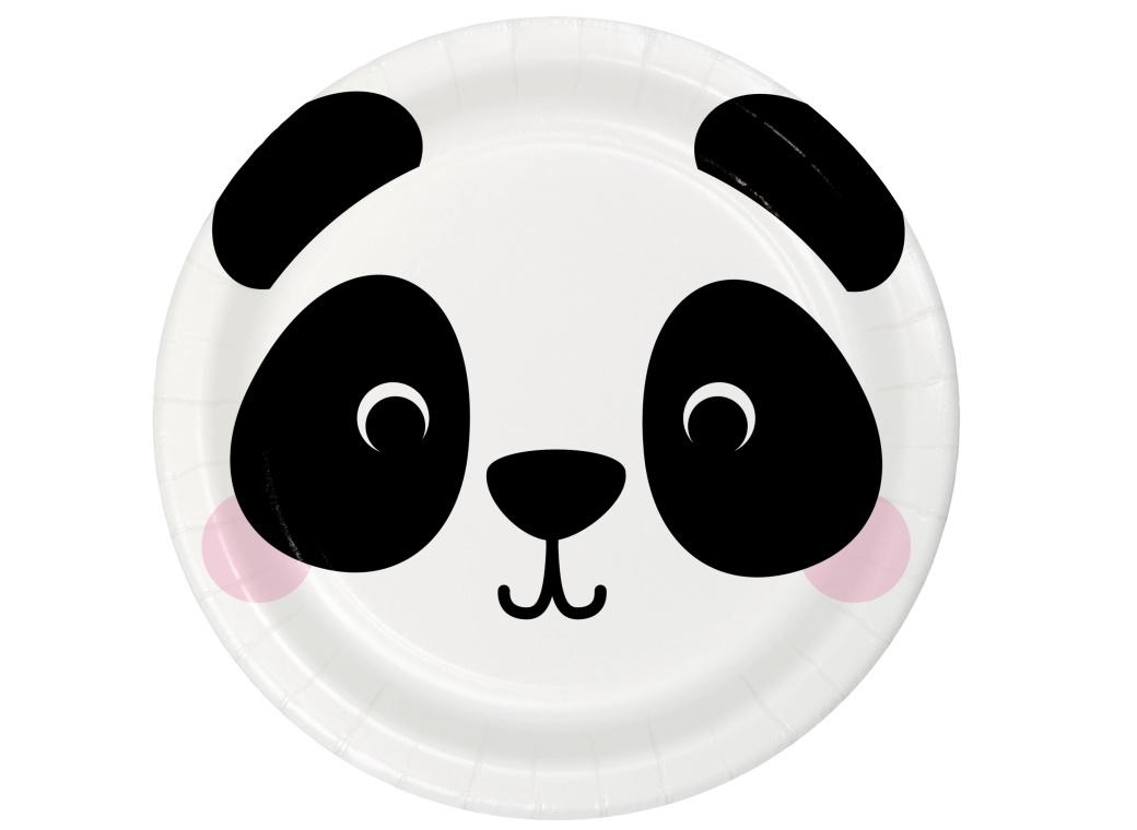 Animal Faces Panda Dinner Plates 8pk