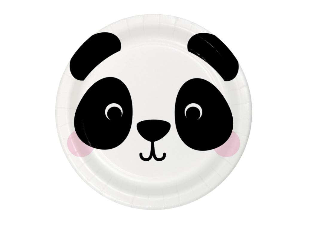 Animal Faces Panda Lunch Plates 8pk