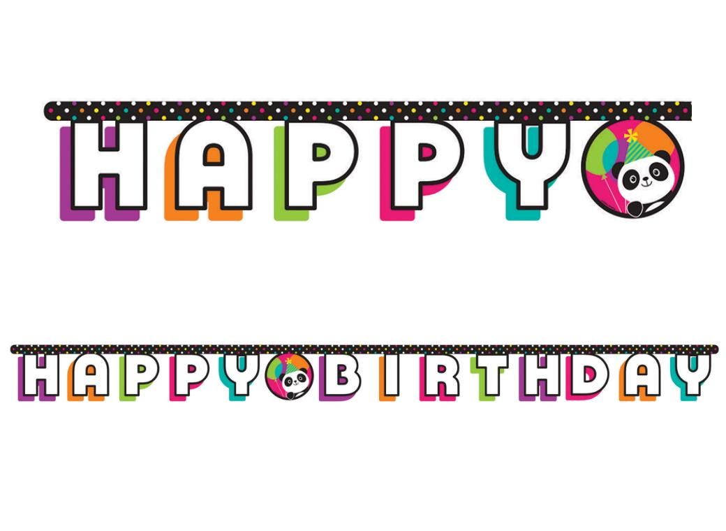 Panda-Monium Happy Birthday Banner