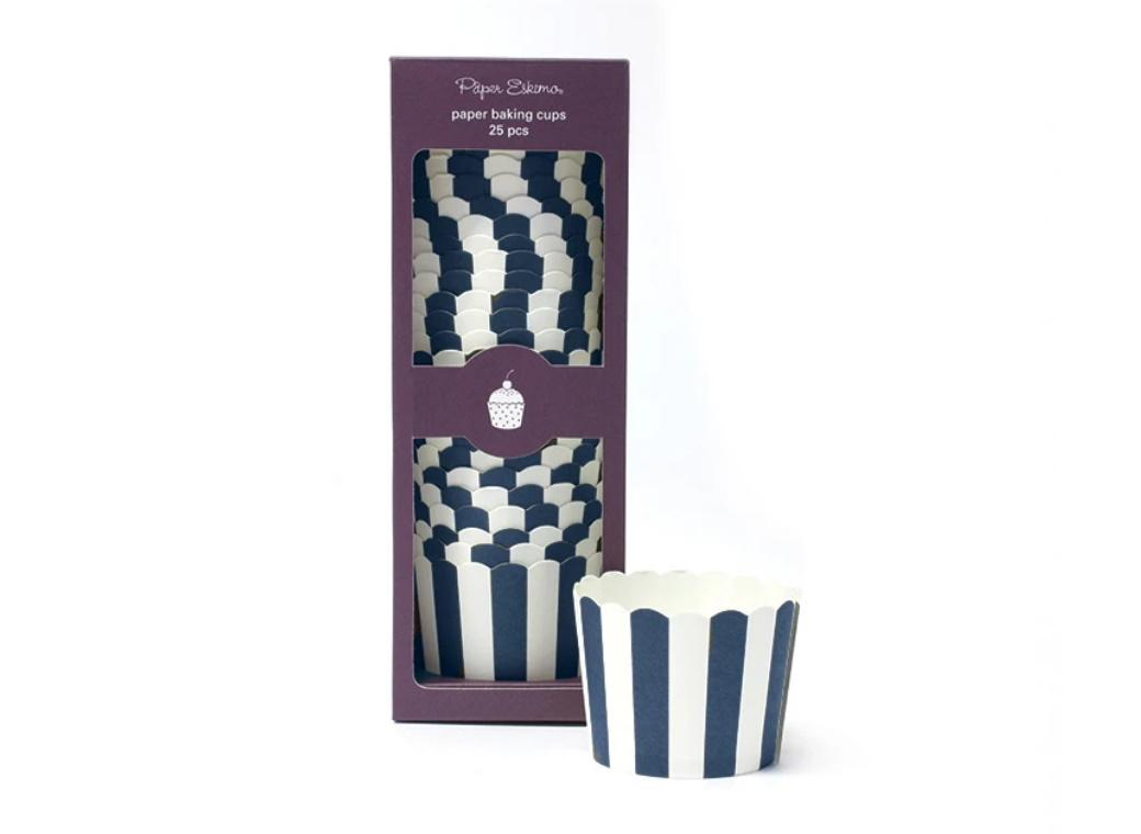 Paper Eskimo Baking Cups - Navy Stripes 25pk