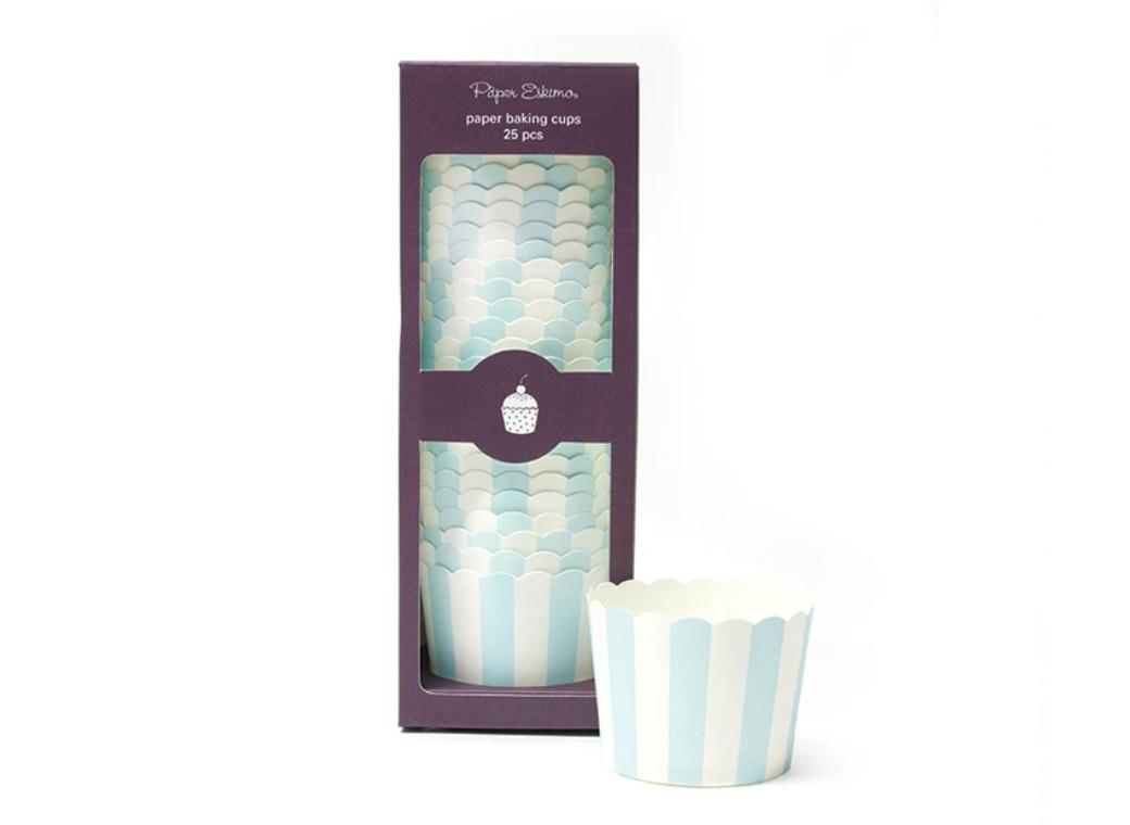 Paper Eskimo Powder Blue Stripes Baking Cups 25pk