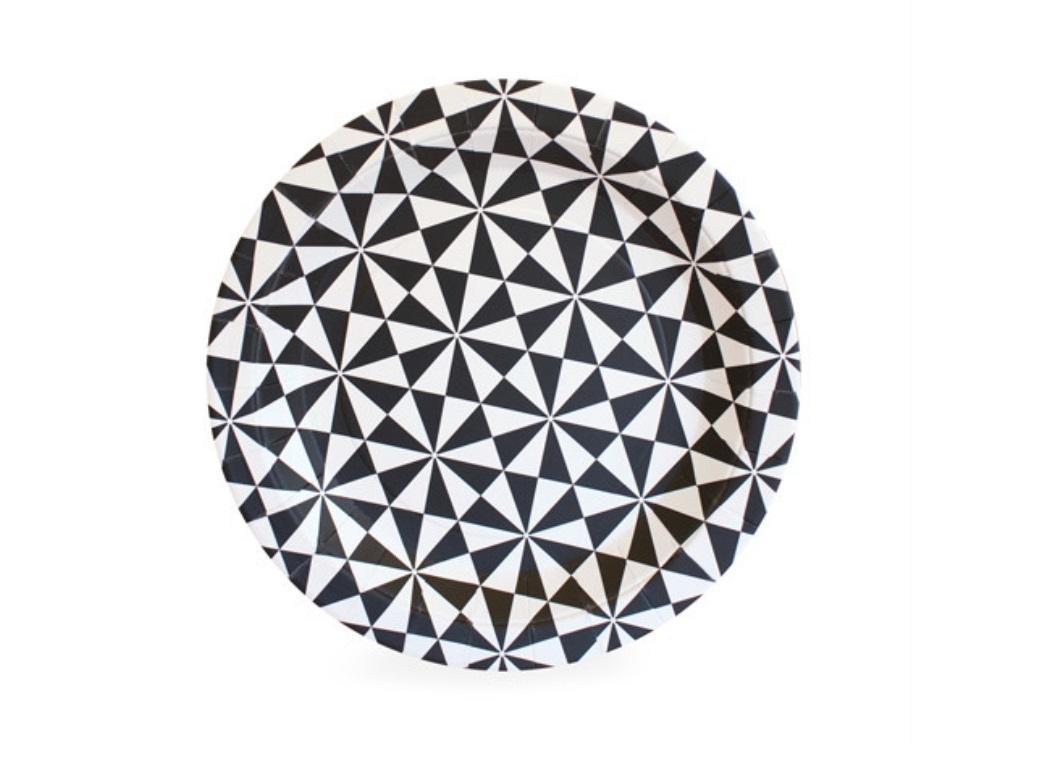 Paper Eskimo Dessert Plates - Black Geo