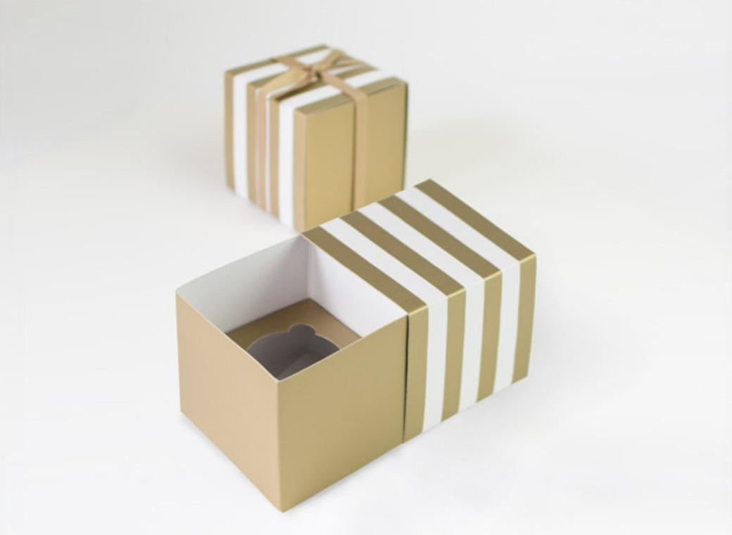 Paper Eskimo Cupcake Boxes - Gold Crush
