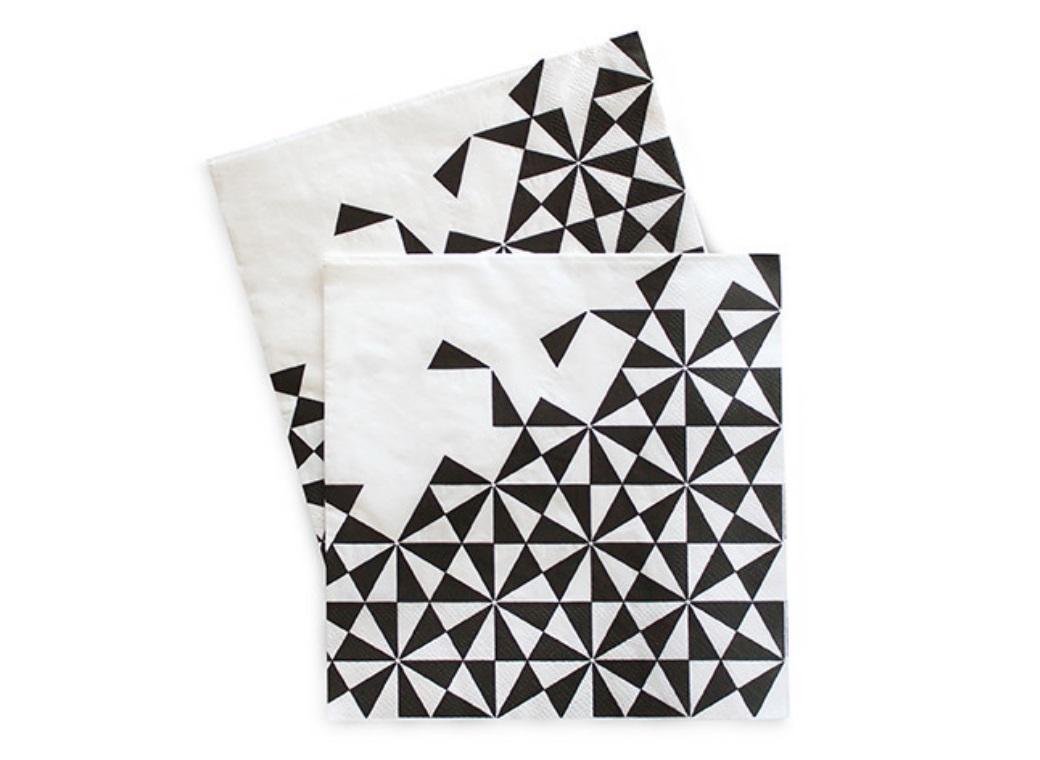 Paper Eskimo Napkins - Black Geo