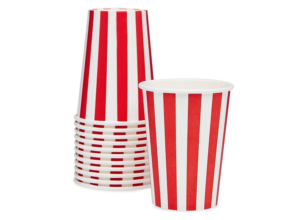Paper Eskimo Paper Cups 12pk - Candy Cane Red