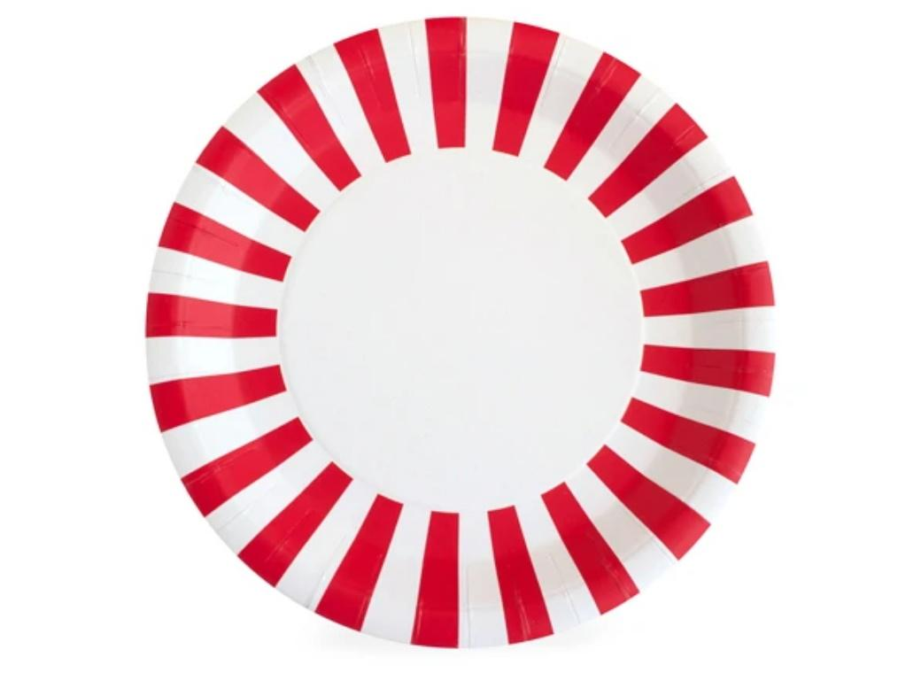 Paper Eskimo Paper Plates 12pk - Candy Cane Red