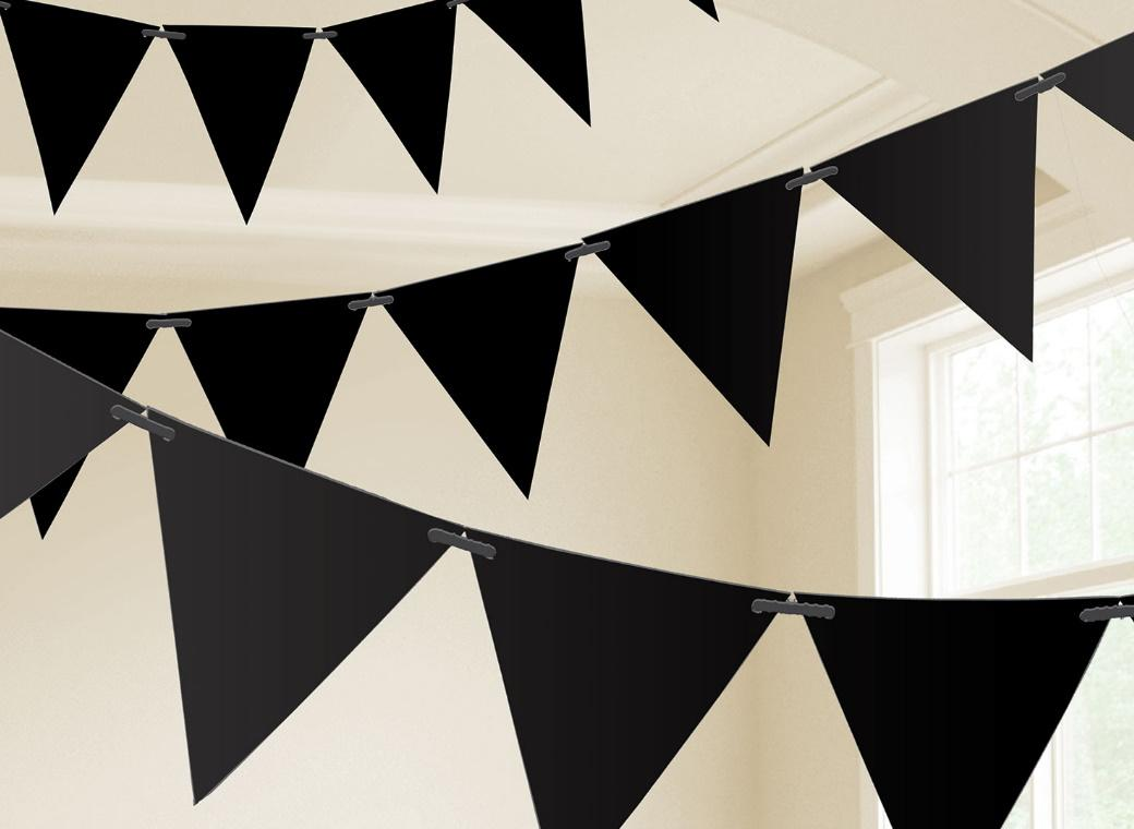 Paper Bunting Flags - Black