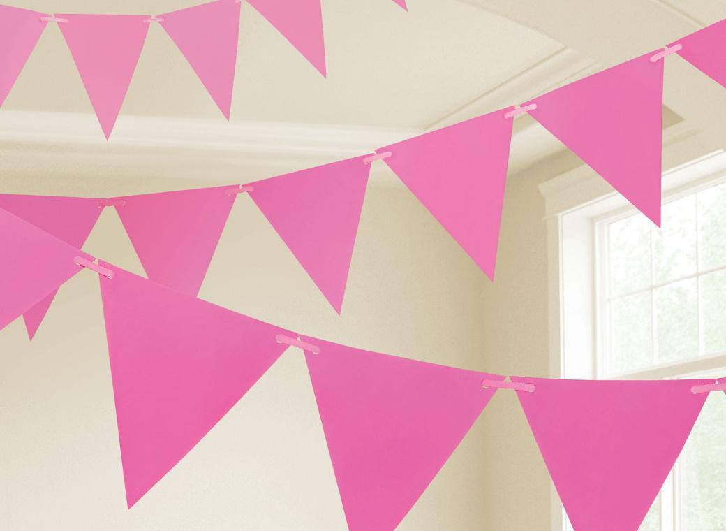 Paper Bunting Flags - Bright Pink