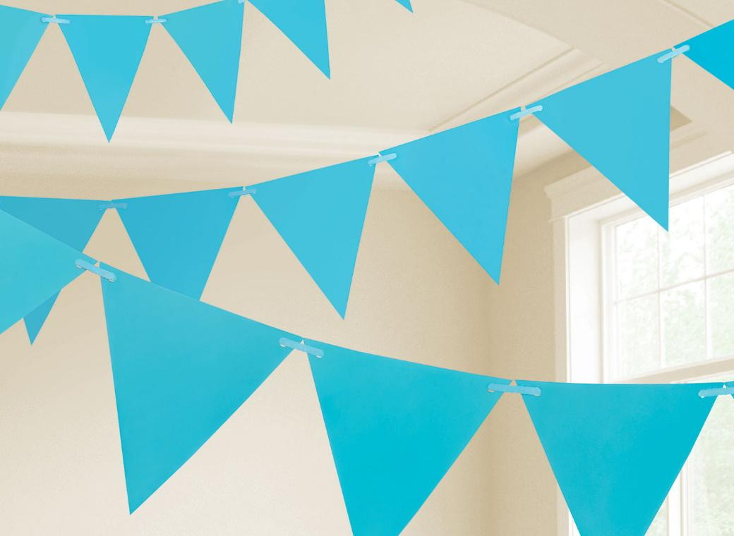 Paper Bunting Flags - Caribbean Blue