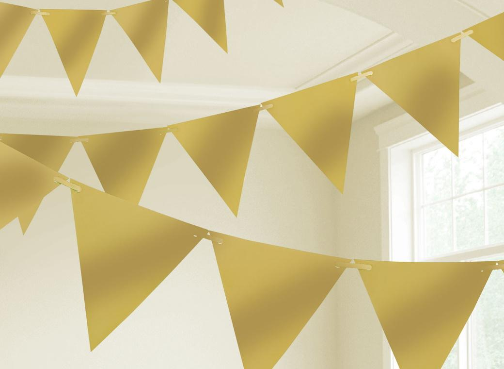 Paper Bunting Flags - Gold