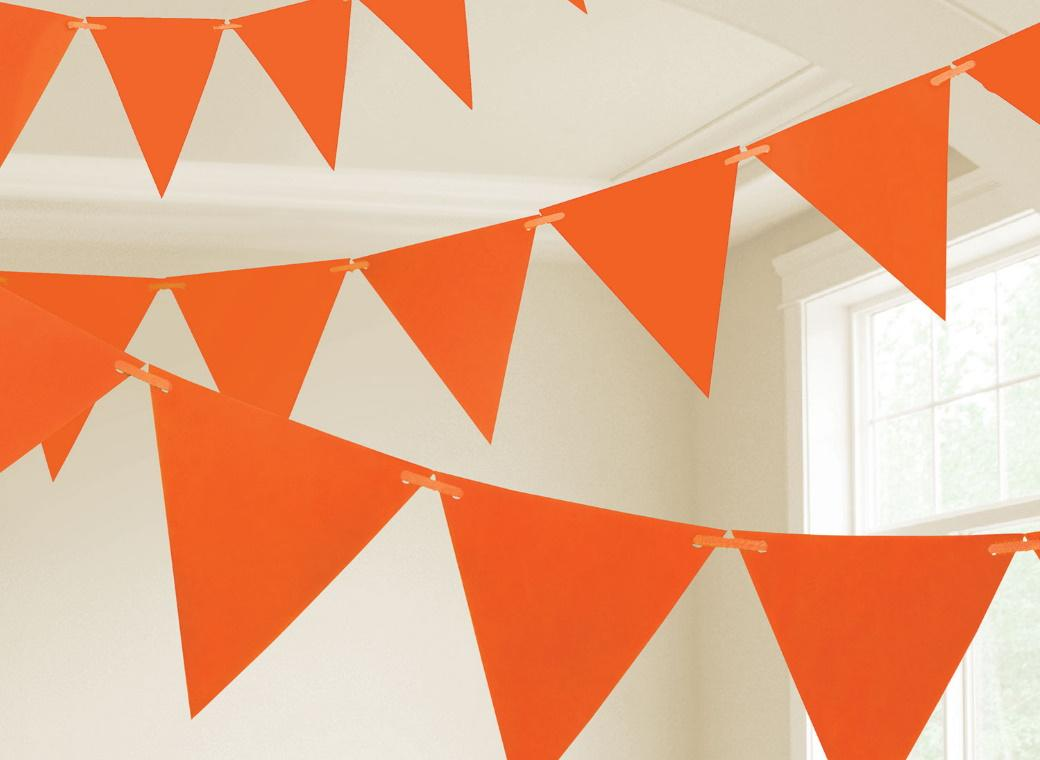 Paper Bunting Flags - Orange