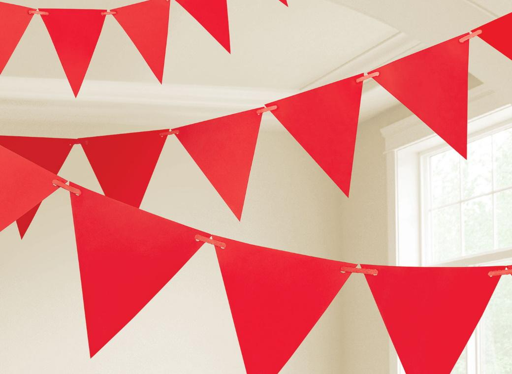 Paper Bunting Flags - Red