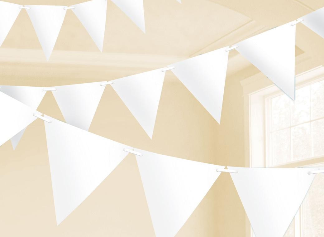 Paper Bunting Flags - White