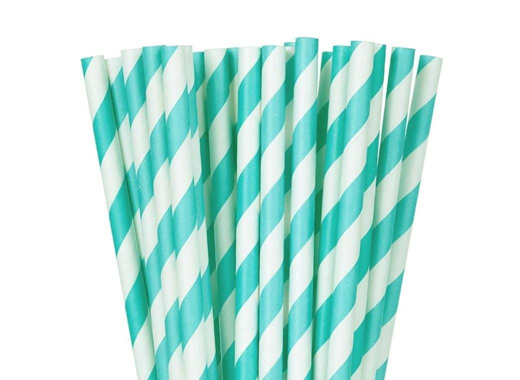 Baby Blue Paper Straws 24pk
