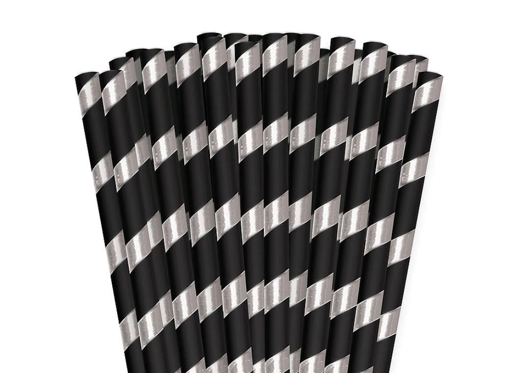Black & Silver Striped Paper Straws 24pk