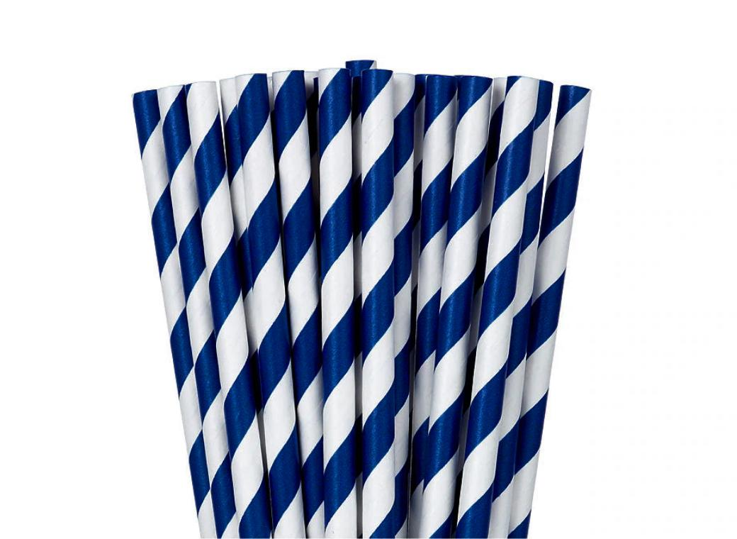 Paper Straws Royal Blue 24pk
