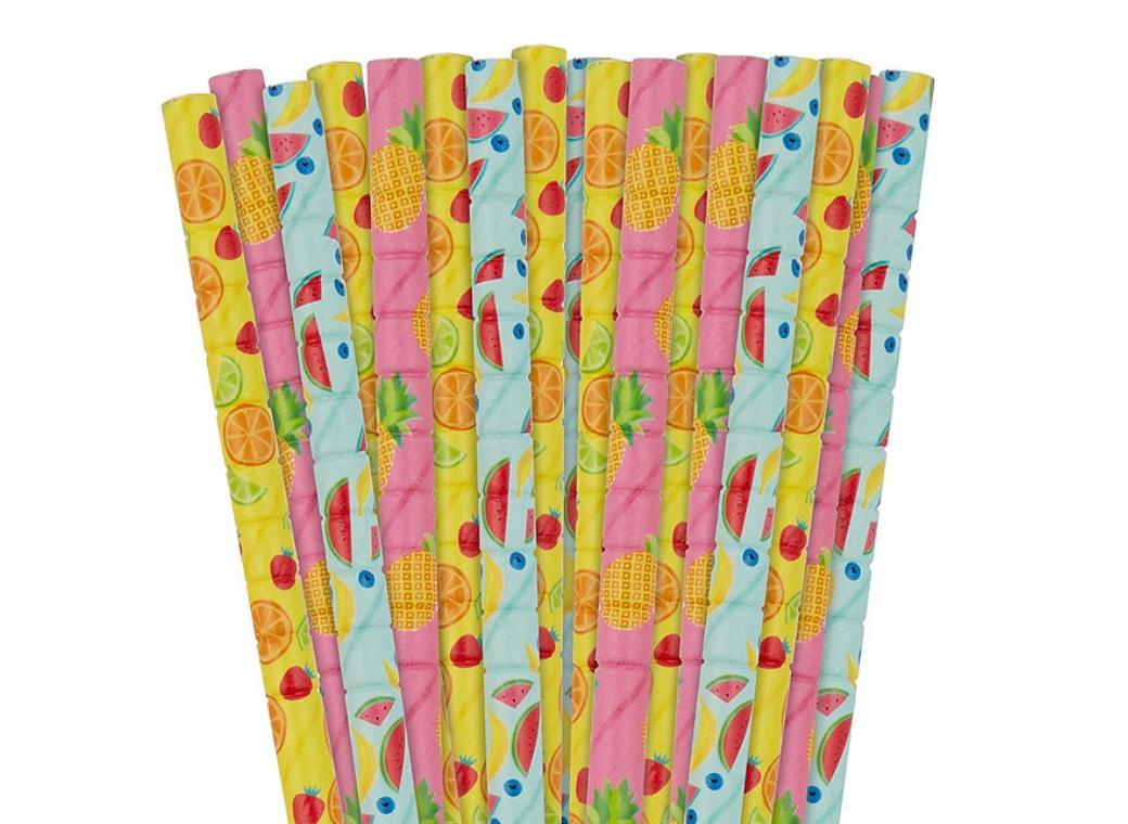 Paper Straws Fruit 24pk