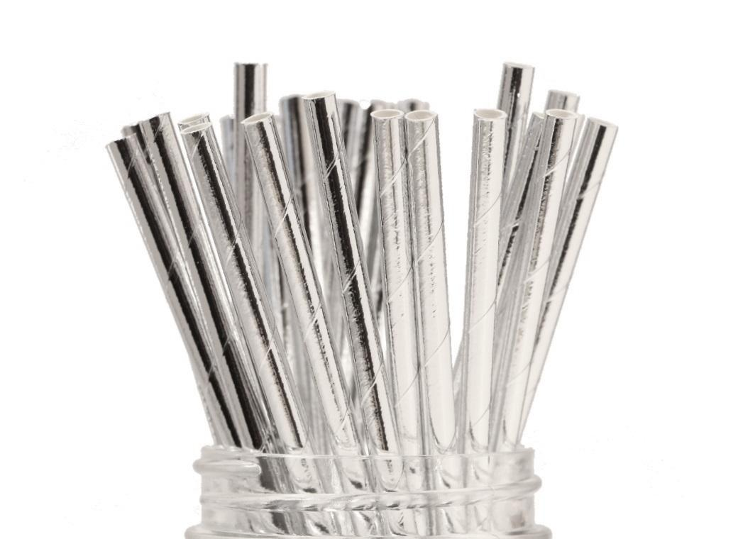 Paper Straws - Solid Silver Foil
