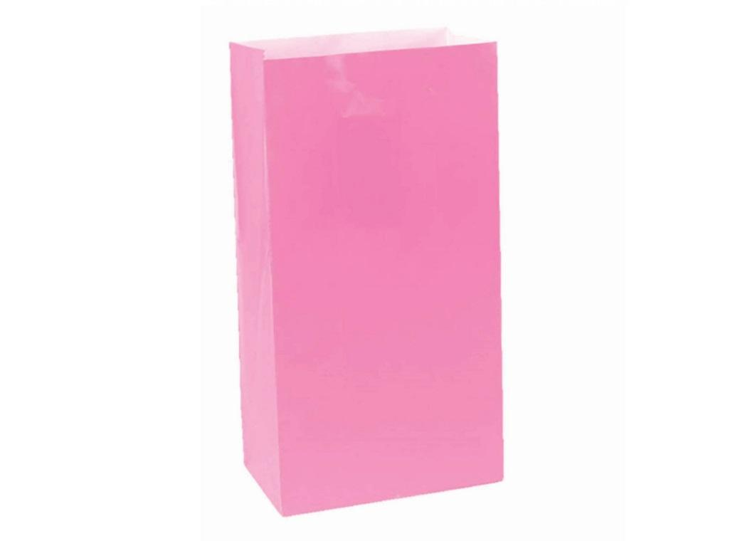 Paper Treat Bags 12pk Bright Pink