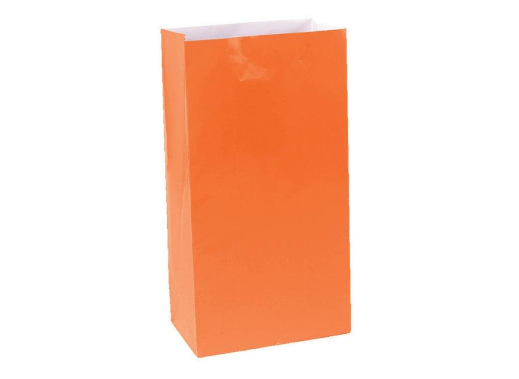 Paper Treat Bags 12pk Orange