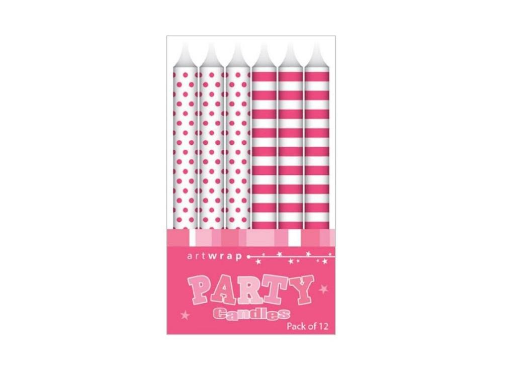 Party Candles - Pink Spots&Stripes