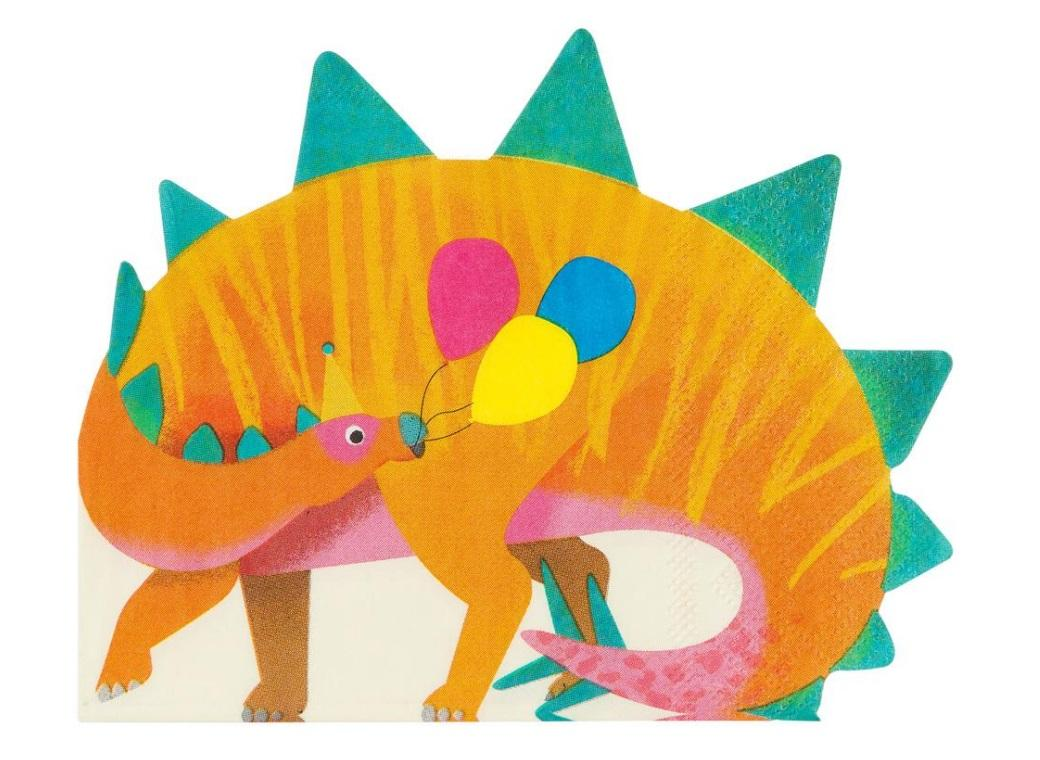 Party Dinosaurs Shaped Napkins 16pk