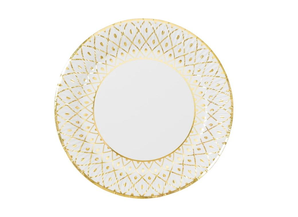 Party Porcelain Gold Medium Plates 8pk