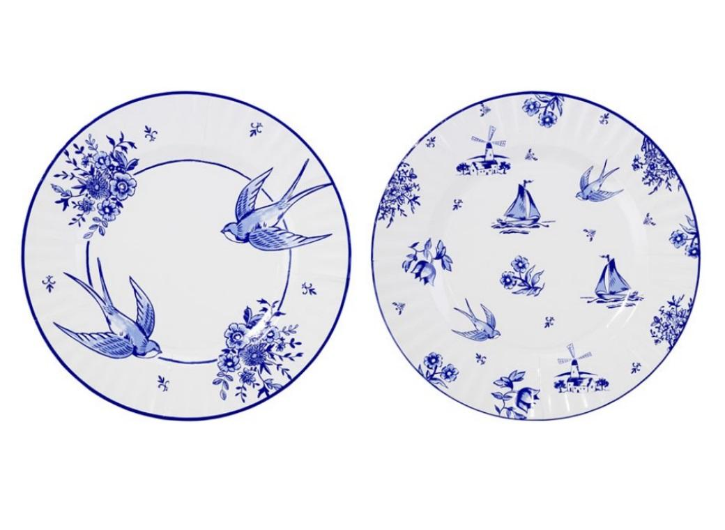 Party Porcelain Blue Dinner Plates