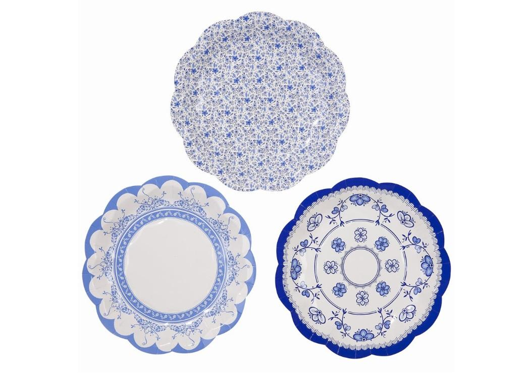 Party Porcelain Blue Lunch Plates