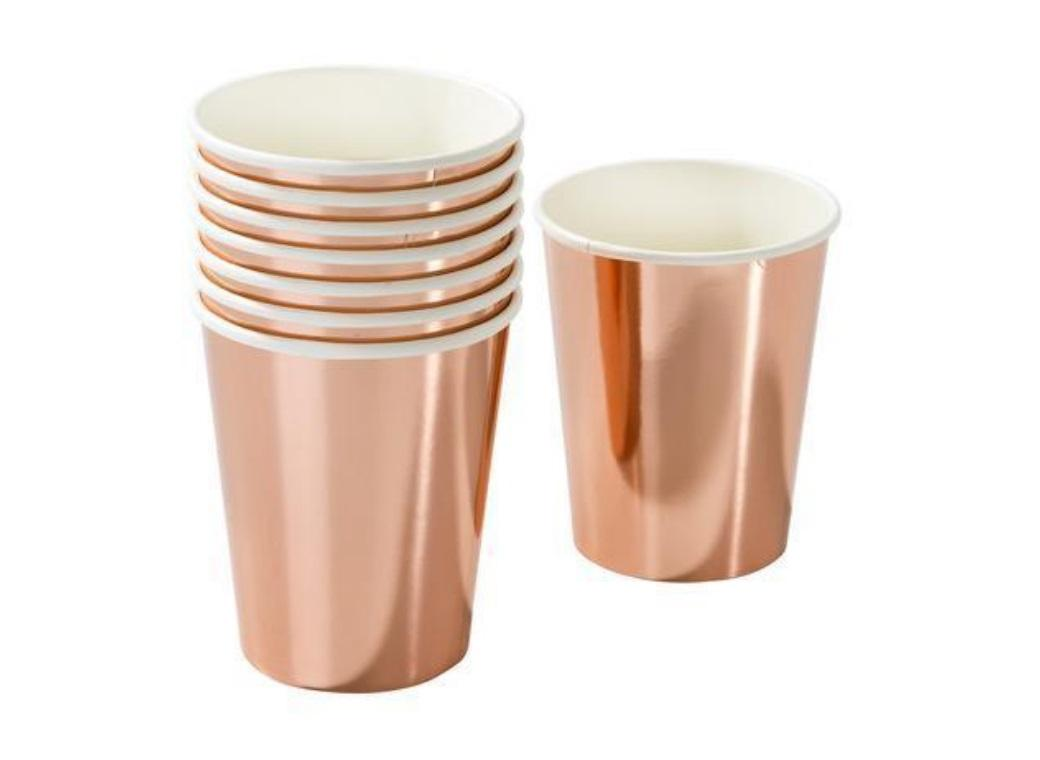 Party Porcelain Rose Gold Cups 8pk